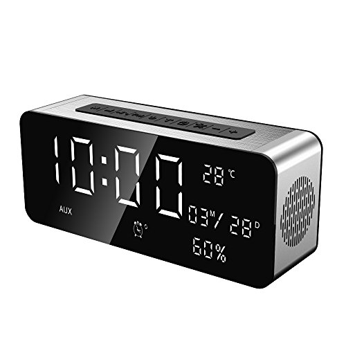 Docooler Bluetooth Altavoz Estéreo Bluetooth 4.2 + EDR Despertador FM Radio Pantalla LED Sensor de Temperatura Batería 5000mA Manos Libres con Micrófono TF Tarjeta U-Disco de 3,5 mm AUX