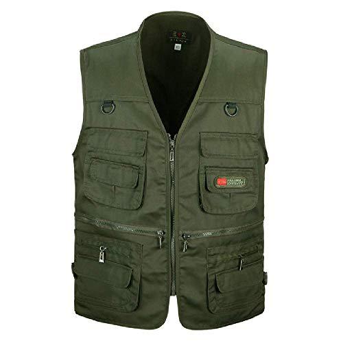 GERPY Männer Baumwolle Multi Pocket Weste Sommer Neue männliche beiläufige dünne ärmellose Jacke mit vielen Taschen Mens Fotograf Baggy Weste