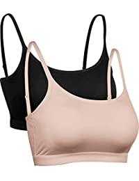 0079d98ecc4 Satinior Mini Camisole Crop Top Wirefree Bra Padded Strap Cami Bra
