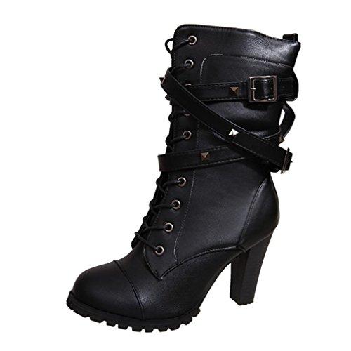Stiefel Damen Schuhe Sonnena Frauen Knöchel Stiefel High Heels Martin Schuhe Warm Gefütterte Schnallen Blockabsatz Trichterabsatz Schuhe Nieten Schnürschuhe mit Reißverschluss (38, Sexy Schwarz)