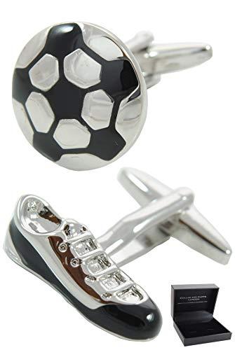 COLLAR AND CUFFS LONDON - Boutons de Manchette avec Boite-Cadeau - Grand Qualité - Football et Chaussure de Football - Laiton - Couleur Argent et Noir