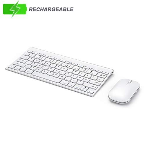 seenda Tastatur Maus Set, Ultra Flach Klein Wiederaufladbar Wireless Tastatur und Maus für Windows- Weiss