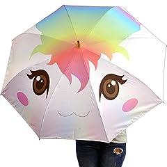 Idea Regalo - Crazyluke Ombrello Unicorno inverso/invertito con apertura al contrario e corno dorato