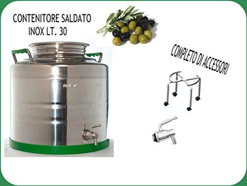 CONTENITORE PER OLIO SALDATO +SUPPORTO E RUBINETTO INOX
