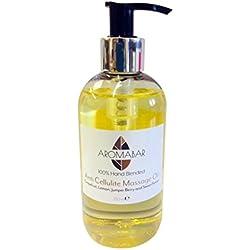 anti cellulite Huile de Massage 250ml distributeur POMPE avec Pamplemousse Citron Genévrier FENOUIL Pure huiles essentielles