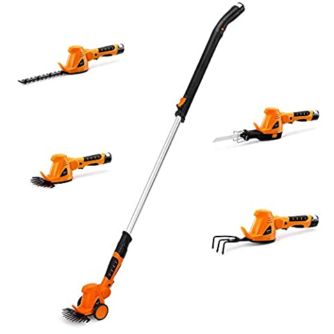 VonHaus 10.8V Li-ion 4 in 1 Cordless Grass Trimmer – Hedge Cutter, Grass Shear, Cultivator and Reciprocating Saw in One with Soft Grip