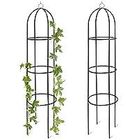 2x Rankobelisk, Rankhilfe freistehend, dekoratives Rankgestell für Garten, Rankturm, Metall, grün, HBT: 190 x 40 x 40 cm