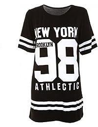Janisramone femmes baseball brooklyn Nouveau York 98 taille excessive bouffant t Shirt robe haut SM-XXXXL