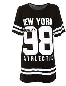 Janisramone Señoras Mujeres Nueva Beisbol New york 98 brooklyn raya impresión sobredimensionado baggy tapa de...