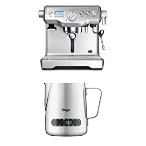 Sage by Heston Blumenthal the Dual Boiler Coffee Machine, 2200 W - Silver with The Temp Control Milk Jug, 0.48 L with The Knock Box Mini Bundle