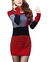 TOOGOO(R)Damen Strickpullover Blusen Oberseiten Rundausschnitt Pullover  Langarm Shirt Rot + Grau + 9b6b78ce06