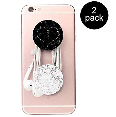 Erweiterbare Basis und Griff für Smartphones und Tablets- Marmor Weiß Rosa herz 2 Pack