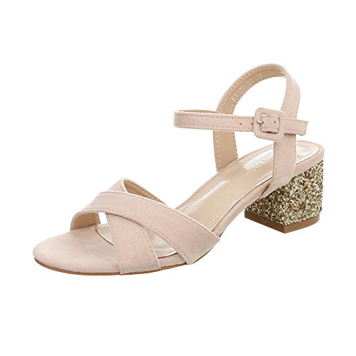 Ital-Design High Heel Sandaletten Damen-Schuhe Pump Riemchen Schnalle Sandalen & Beige, Gr 36, By173-Sp-