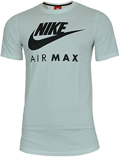 Nike Air Max Tee Hommes Chemise T-Shirt Coton Fitness Sport Blanc/Noir, Dimension:S