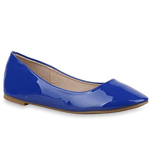 Damen Ballerinas Lack Slipper Schuhe Flats Lederoptik Blau