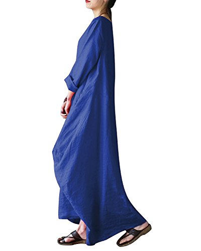BONESUN Women Summer Linen Cotton Vintage Loose Kaftan Casual Boho Maxi Dress Blue 2XL