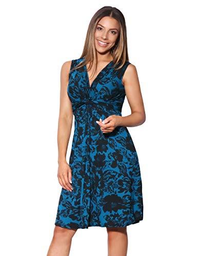 KRISP 6309-TEA-20 Damen Kleid Geknotet Blumenmuster (Petrol, Gr.48) -