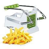 Relaxdays 10022330 manueller Gemüsestiftler, weiß-grün Pommesschneider, Profi Kartoffelschneider mit 2 Edelstahl Einsätzen