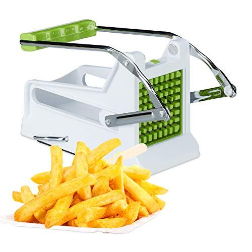 Relaxdays 10022330 Pommesschneider, Profi Kartoffelschneider mit 2 Edelstahl Einsätzen, manueller Gemüsestiftler, weiß-grün