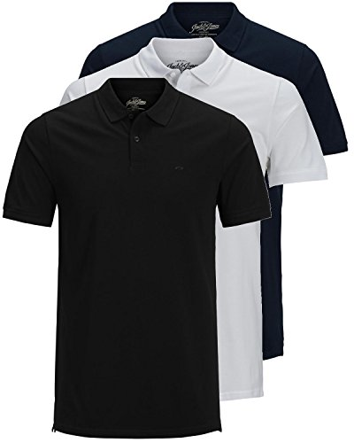 JACK & JONES 3er Pack Herren Poloshirt Slim Fit Kurzarm schwarz weiß blau grau XS S M L XL XXL Einfarbig Gratis Wäschenetz von B46 (3er Pack Mix3, L)