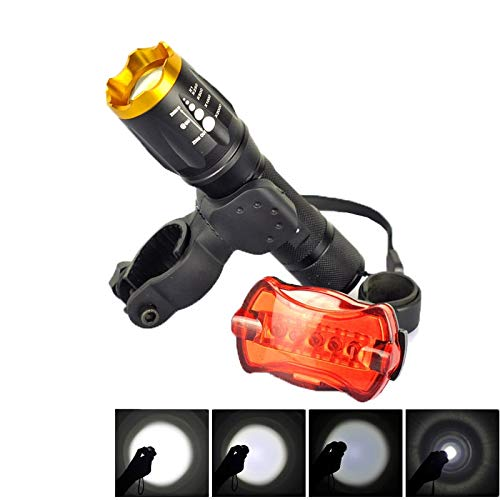 Nuova torcia LED LT-TJ CREE XM-L T6 a 5 modalità, messa a fuoco regolabile 2000 LM con fanale posteriore for bicicletta e clip di montaggio Yiki