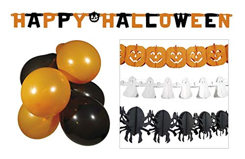 Boland 74588 Halloween Party Deko Set - 3 Girlanden + Buchstabengirlande + 10 Ballons, Orange/Weiß/Schwarz