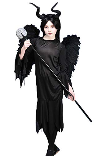 Delights Kids Size Maleficent Style Gothic Queen Costume with Wings (Small (5-6 years))