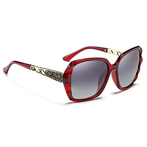 SIZHINIAN Mode Fahren polarisierten Sonnenbrillen-roten Rahmen Grau Sonnenbrille Damen polarisiertem UV-Schutzbrille Retro Mode Sonnenbrillen