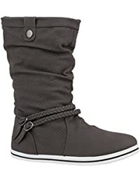 Bequeme Damen Stiefel | Schlupfstiefel Lochungen | Flache Boots Leder-Optik | Metallic Schuhe | Flandell®