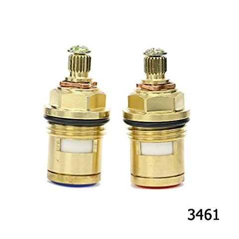 Kitchen Bathroom Basin Sink Hot and Cold Tap/Faucet Replacement Quarter Turn Ceramic Disc Brass Cartridge Valve fit G 1/2 BSP 20 Teeth Spline hq3461 Clockwise&Anti-clockwise Open Pair by Sinjo