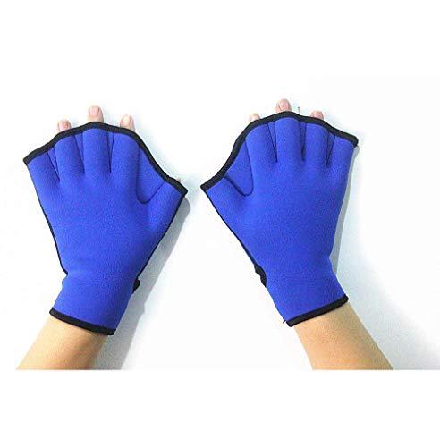 1 Paar blaue Schwimmflossen Hand Surfen Webbed Flossen Handschuhe Halbfinger Paddel Training für Schwimmen