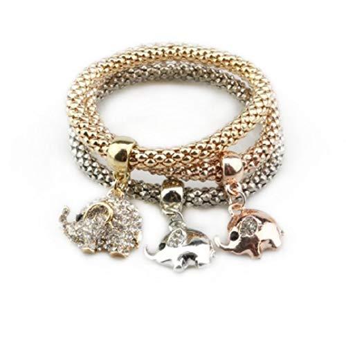 ICHQ Armband, 3 pcs Armband Mode Kreativ Elefant Anhänger Bracelet Mais Form Bangle Schmuck Zubehör Elastizität Armband (A)
