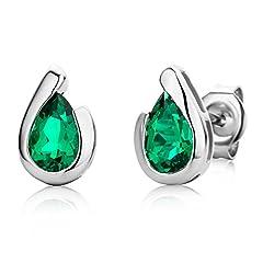 Idea Regalo - Miore - Orecchini da donna in oro bianco 375, con smeraldo