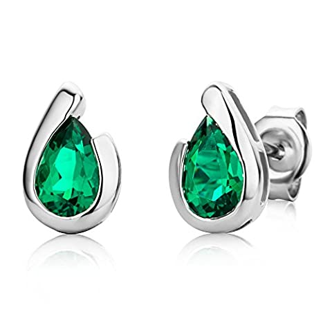 Miore Ladies 9ct White Gold Pear shape Emerald Bezel Earrings MG9243E