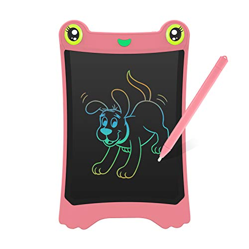 NEWYES LCD Kinder Tablet Zeichentafel Frog Pad - Bunte Schrift - 8,5 Zoll - Rosa -