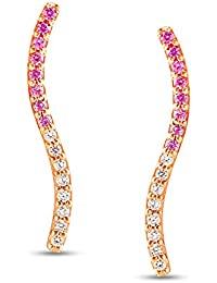 Mia by Tanishq 14KT Rose Gold, Diamond and Sapphire Stud Earrings for Women