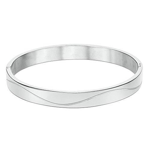 Imagen de anazoz joyería de moda acero inoxidable pulsera de hombre forma redonda cz plata pulsera para hombre