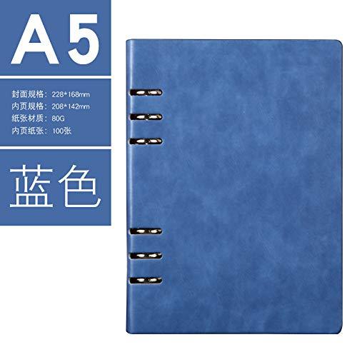 Notebook Business Office Lose Leaf Notebook PU Leder Student Tagebuch blue-A5
