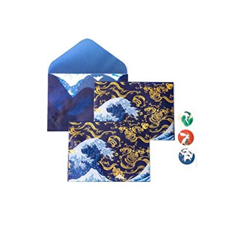 richingCAI 3Pcs Retro Goldmuster-göttliches Gold auf lichtdurchlässigem Mitteilungs-Buchstabe-Buchstabe gespeichertem Briefpapier-Geschenk-Geschenk