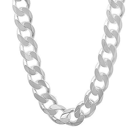 11mm 925 Sterling Silver Beveled Cuban Curb Link Italian Nickel Free Chain, 20