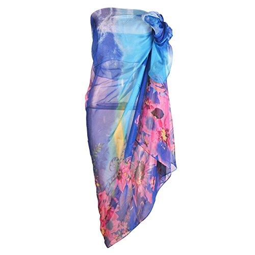 CHIC DIARY Damen Frauen elegant Sarong Pareo Strandtuch Bikini Cove Up  Wickelrock Wickeltuch farbig geblümt gedruckt ...