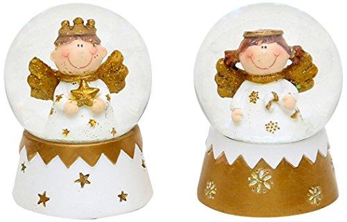 Unbekannt Sigro Sortiert 2Mini Schneekugel mit Engel auf glatter Boden, 6x 4,5x 5cm, weiß/Gold