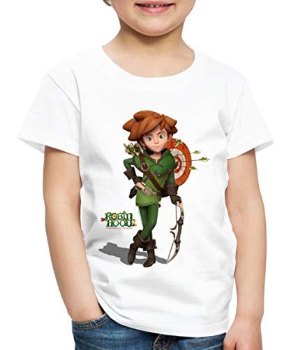 Spreadshirt Robin Hood Schlitzohr Von Sherwood Mit Bogen Kinder Premium T-Shirt, 122/128 (6 Jahre), Weiß Robin Hood Shirt