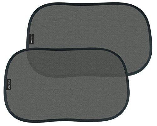 ZAROSO Auto Sonnenschutz / Sonnenblende für Baby Kinder und Hunde selbsthaftend mit UV Schutz (2er-Set) / Schwarz für Seitenscheibe / Fenster Universal Autoblende selbstklebend   2 Stück   Größe: 48cm x 30cm