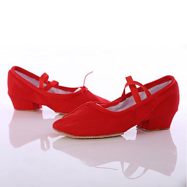 Silence @ Chaussures de danse pour femme en satin satiné latine/danse des chaussures talons Chunky Talon intérieure/Performance Noir/rose Rose