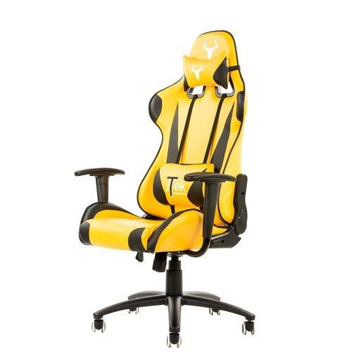 iTek Gaming Chair Taurus P2–PU Leder, zwei Kissen, Schwarz Gelb (Leder Taurus)