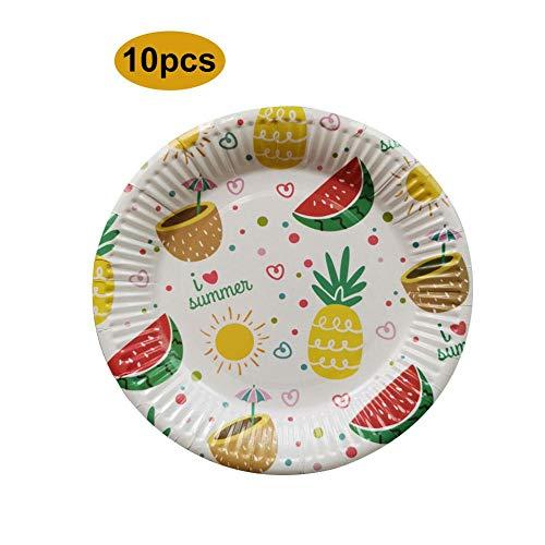 Pappteller Einweg Kuchen Grill Papier Teller 10 Stücke / 7 Zoll Ananas Wassermelone Muster Platten für Geburtstagsfeier Hochzeit