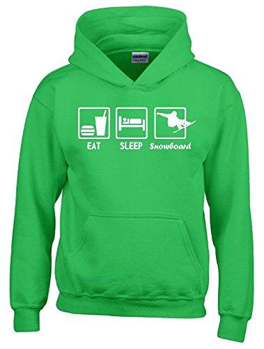 EAT SLEEP SNOWBOARD Kinder Sweatshirt mit Kapuze HOODIE green-weiss, Gr.164cm -