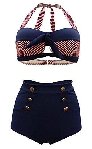 HONGYISWIN Damen Bunt Retro Pinup Vintage Streifen Bikini mit Hoher Taille Bademode Badeanzug Rot Large