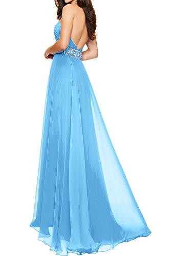TOSKANA BRAUT Blau Neu Damen Abendkleider Bodenlang Steine Paillette Ballkleider Promkleider Schlitz Rosa